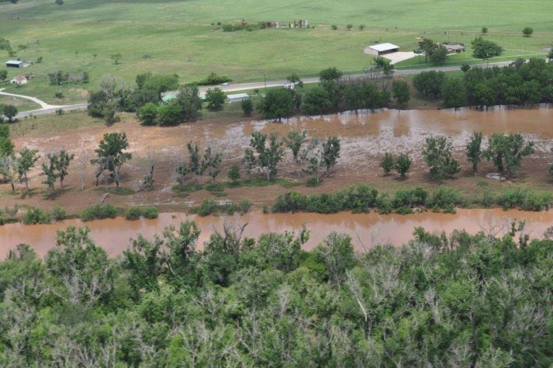The swollen Brazos River, south of Graham.