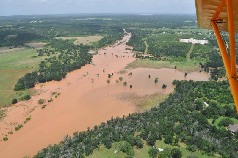 A view of the Brazos River, south of Graham, from above.