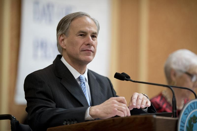 Texas Gov. Greg Abbott paused during his remarks to the Texas State Prayer Breakfast in Austin on Monday.