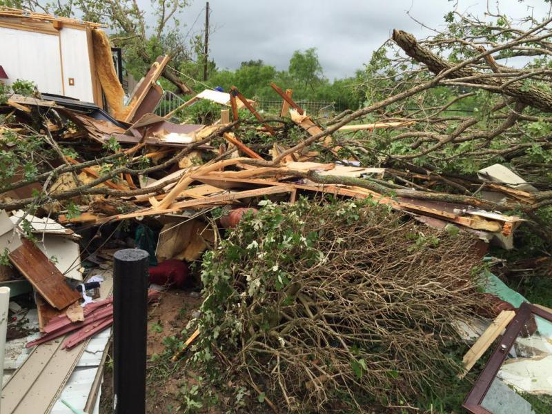 The National Weather Service spotted this damage near Bridgeport.