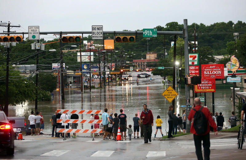 The intersection at 9th and Lamar in Austin earlier this week after Shoal Creek flooded.