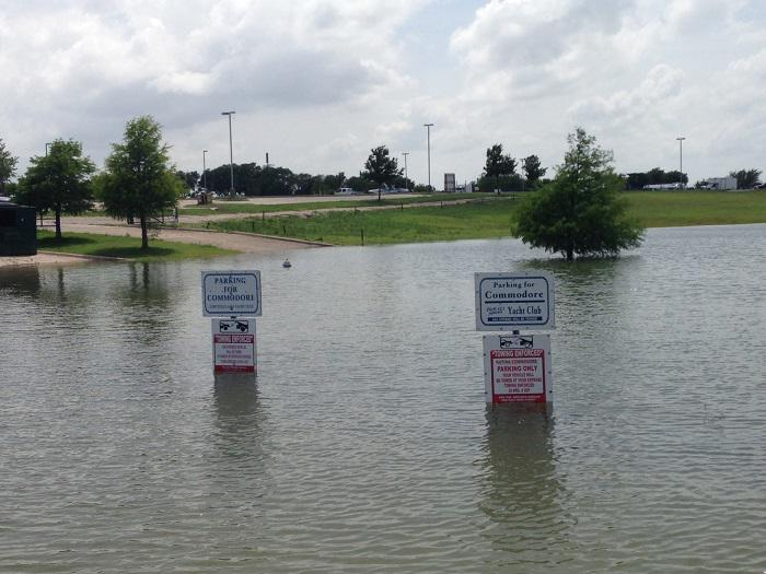 Reserved parking spots aren't much good right now at the Pier 121 Marina at Lake Lewisville.