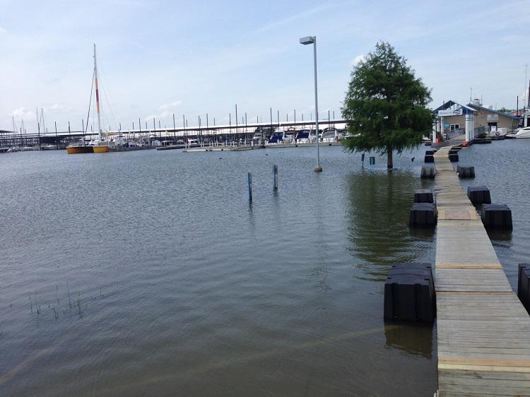 A marina at Lake Lewisville had to build a 200 foot floating walkway over its flooded parking lot.
