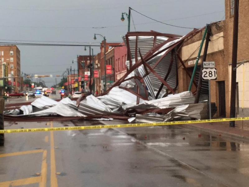 A tornado caused some damage in downtown Mineral Wells Tuesday evening.