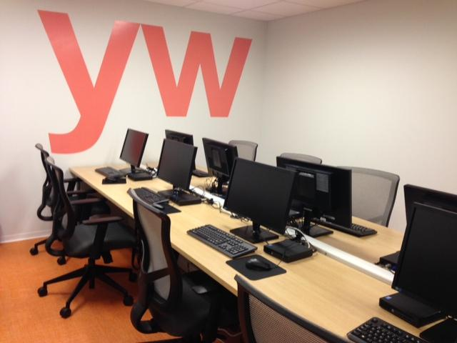 The computer lab at the new YW building.