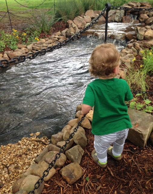 The miniature Rio Grande River as seen by a miniature visitor to the Dallas Arboretum.