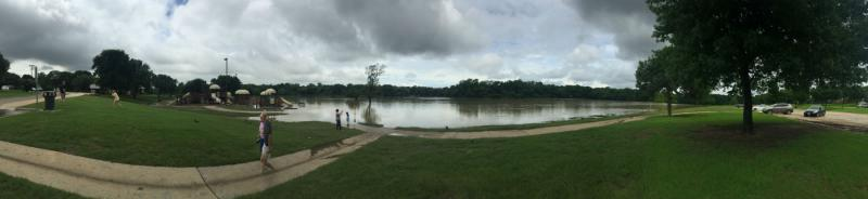 Bob Woodruff Park in Plano is underwater.