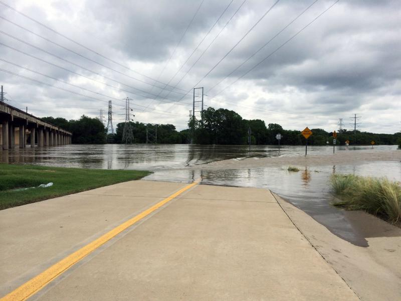 Part of the Santa Fe Trestle Trail was submerged Friday.