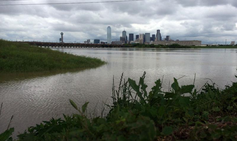 The National Weather Service issued a flood warning for the Trinity River in Dallas.