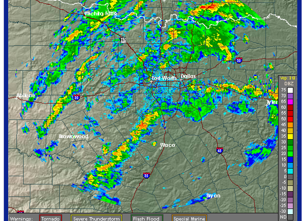 Rain bands are on the increase across north TX, moving generally northwest 25 mph.
