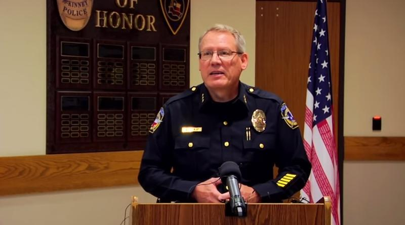 McKinney Police Chief Greg Conley faced questions from reporters yesterday.