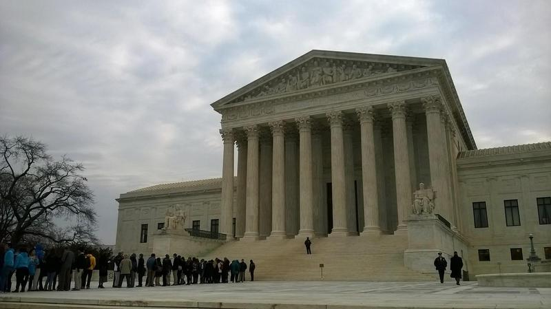 In January, visitors line up to enter the U.S. Supreme Court in Washington D.C. for the Texas Department of Housing and Community Affairs v. The Inclusive Communities Project case.