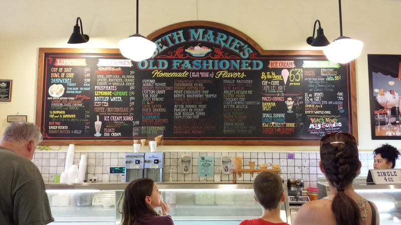 Beth Marie's Old Fashioned Ice Cream is known for its 100-plus flavors as well as for its effort to preserve the building's historical elements.