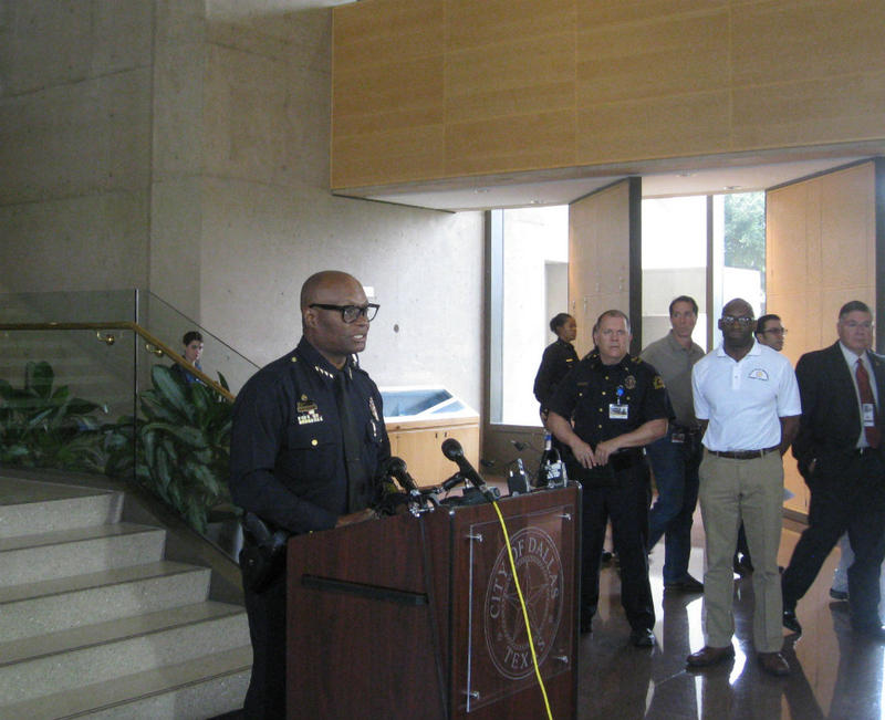 Dallas Police Chief David Brown addresses media at a press conference Saturday, June 13.