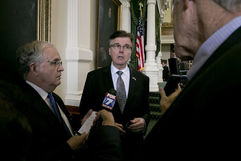 Lt. Gov. Dan Patrick spoke to reporters after the Texas Senate wrapped up the 84th legislative session on Monday.