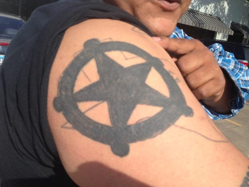 This original tattoo was consistently mistaken for gang ink, so Juan covered it up with this star.