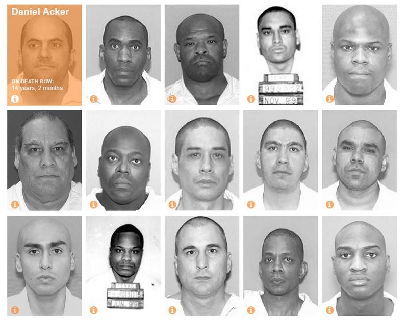 Mugshots of inmates on death row in Texas from the Faces of Death Row database.