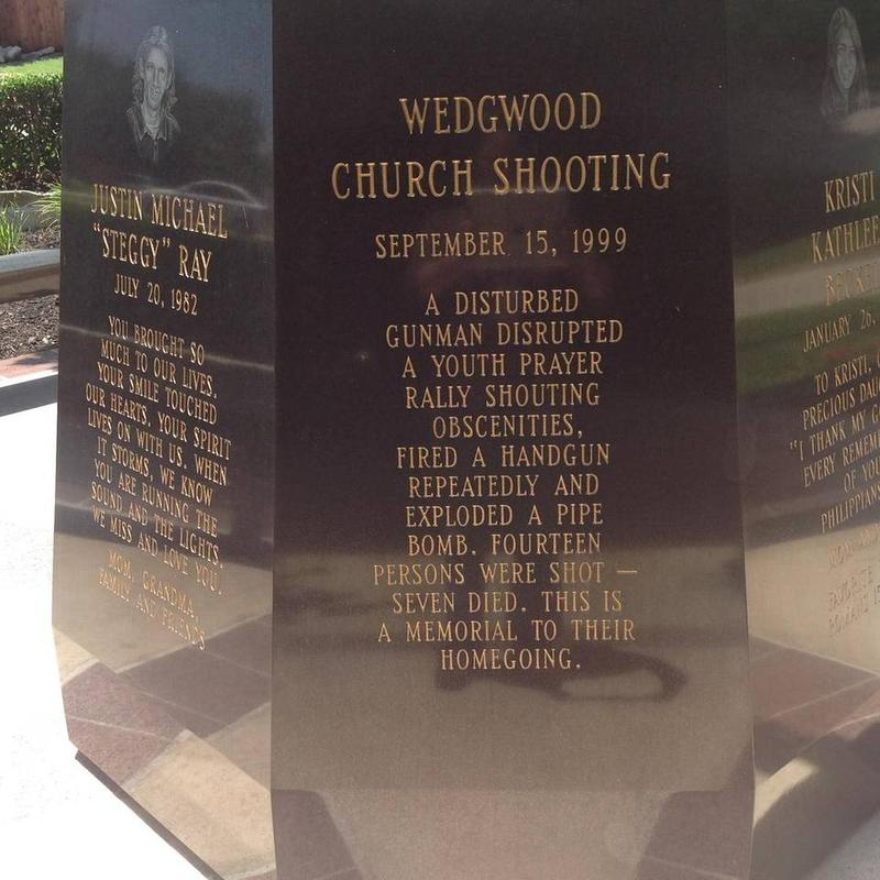 A memorial to the 1999 shooting victims at Wedgwood Baptist Church in Ft. Worth.