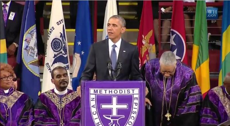President Obama delivering eulogy in Charleston.