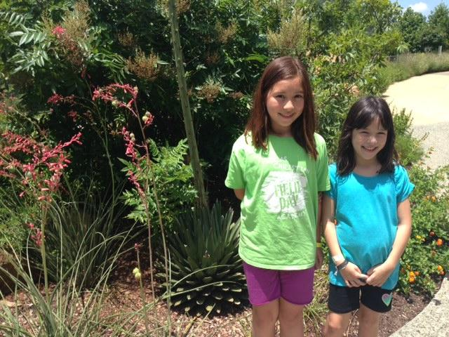 Emily and Elena Bayliss pose next to the Queen Victoria Agave. The base plant is about two feet tall, the flower spike is over 15 feet tall.