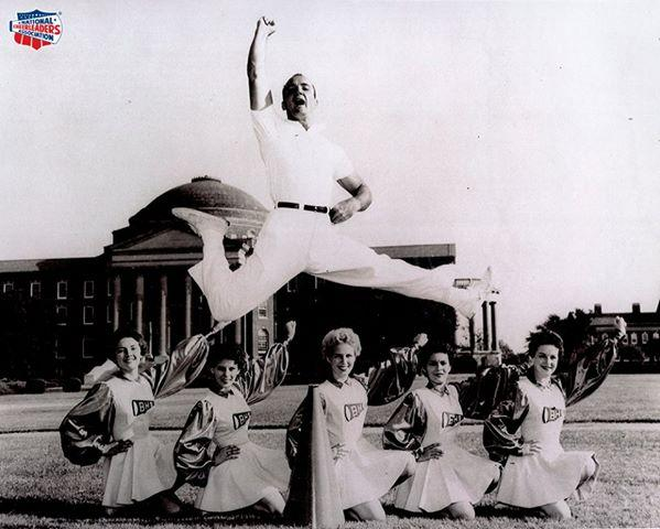 Lawrence Herkimer demonstrated the Herkie jump in front of SMU's Dallas Hall.