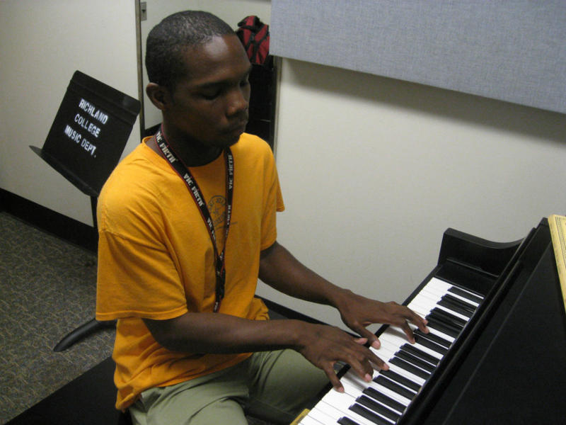 Quinn Mason in Richland College practice room. Quinn just won a national composing contest and will be the first in his family to attend college this fall.