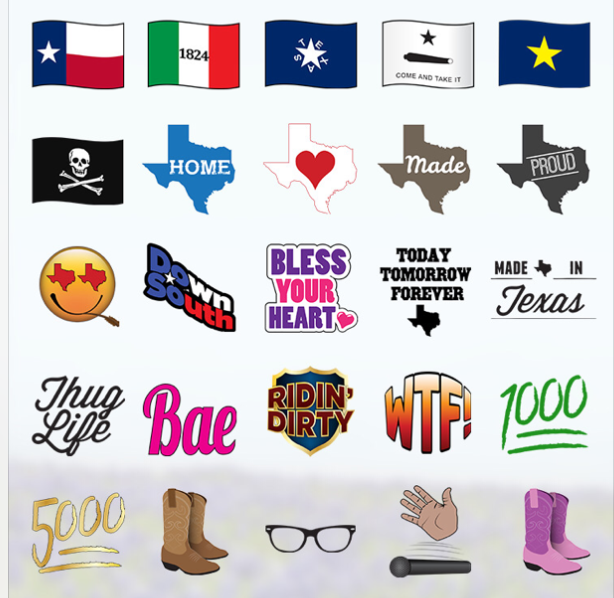 Just a sampling of the Texas-themed emoji from TexMoji.