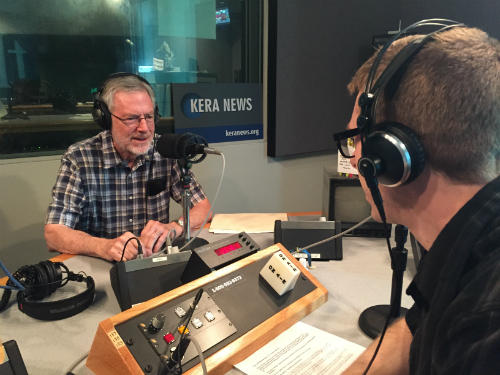 SMU Professor Emeritus Jim Hopkins (left) talking to KERA's Justin Martin about his father James Hopkins