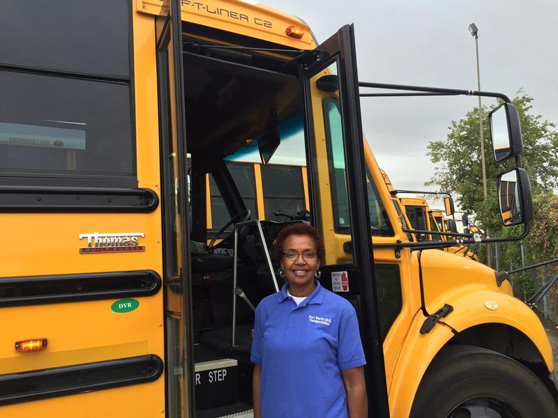 Delois Morrow, 63, has been driving school buses for Fort Worth ISD since 1976. She says she likes getting to know the students on her routes.