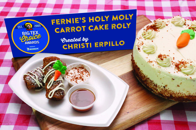 Fernie's Holy Moly Carrot Cake Roly (pictured) and Smoky Bacon Margarita won top honors at Sunday's Big Tex Choice Awards.