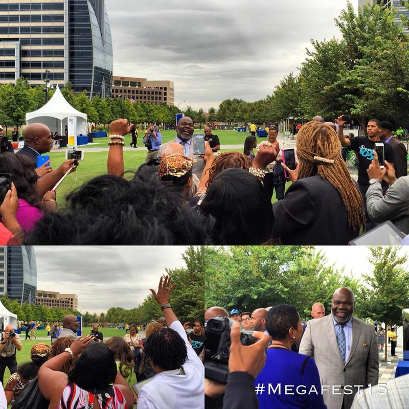 T.D. Jakes greeted crowds at Klyde Warren Park Thursday to help kick off MegaFest.
