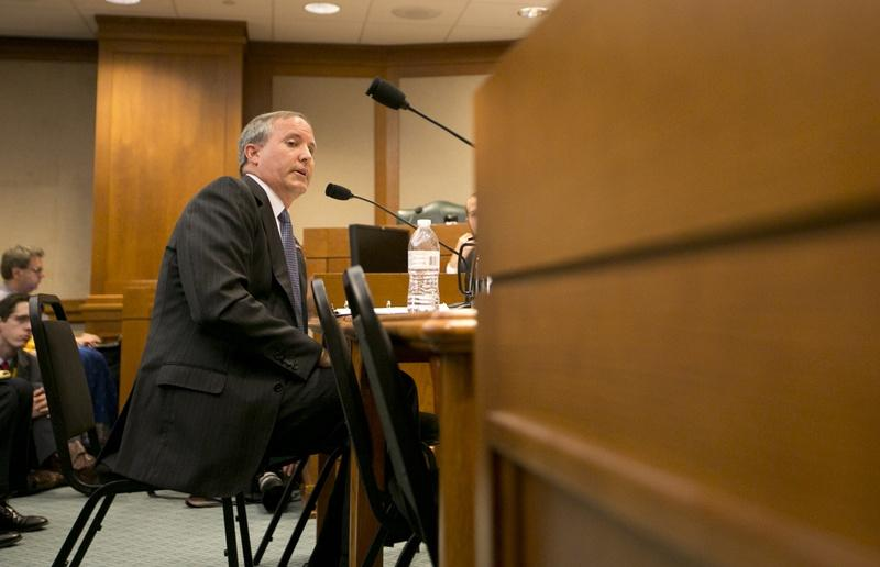 Texas Attorney General Ken Paxton testifies in front of the Senate Committee on Health and Human Services regarding an ongoing investigation into Planned Parenthood's practices on July 29.