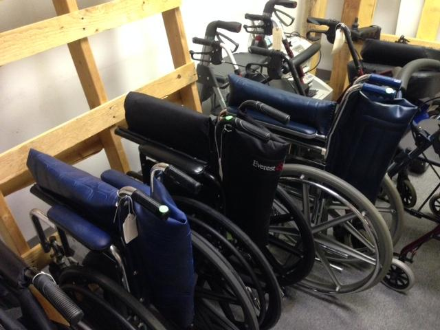 Wheelchairs are cleaned, repaired and sometimes stripped for parts.