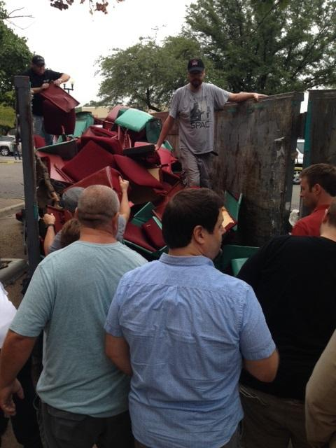 The dumpster was briefly opened before the salvage operation was shut down.