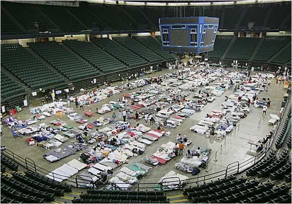 Reunion Arena was opened as a shelter for Katrina Evacuees.