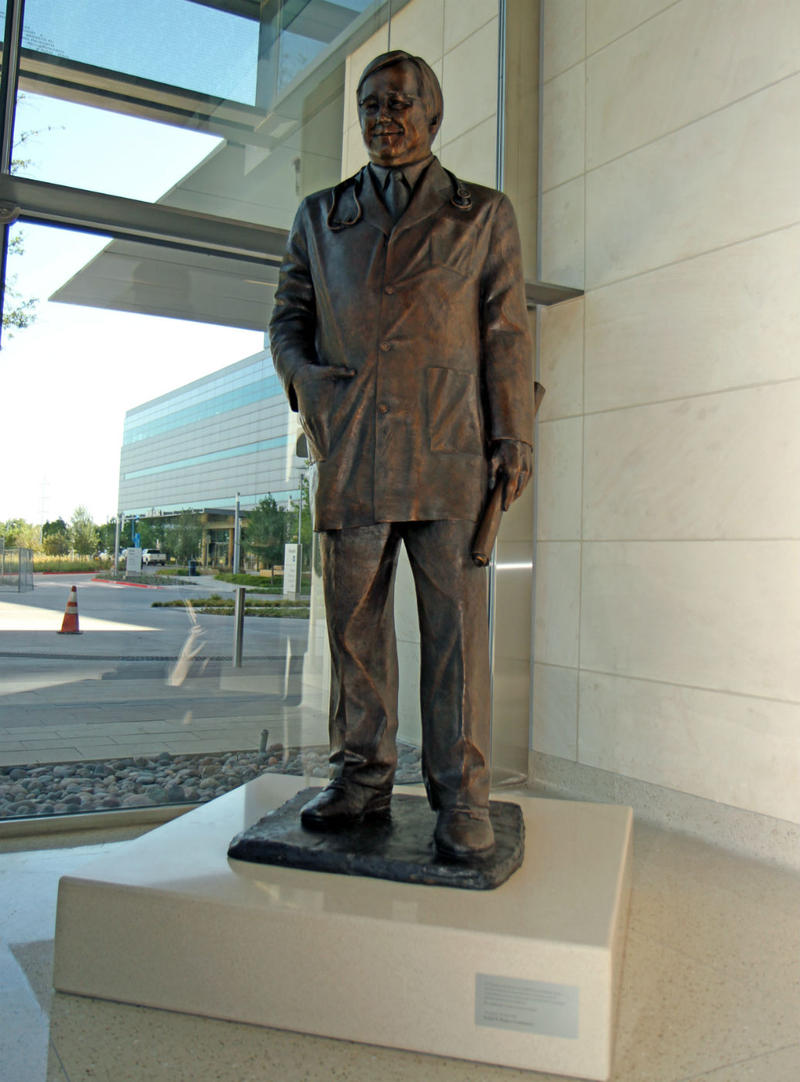 The Dr. Ron Anderson statue is 7 1/2-feet tall and made of silicon bronze.