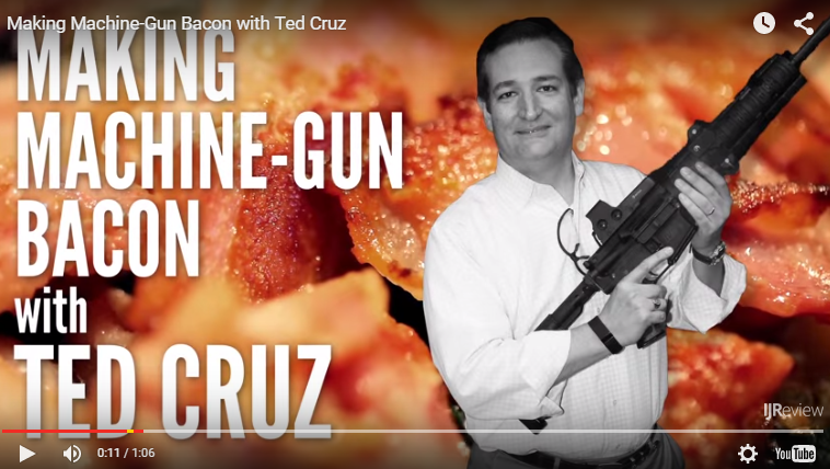Sen. Ted Cruz appears in a video making machine gun bacon.