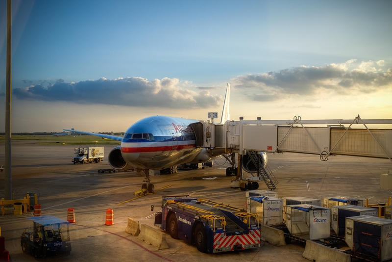 An American Airlines plane sits at Dallas-Fort Worth International Airport.