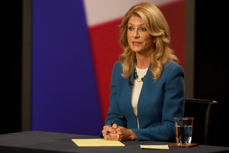 Wendy Davis appeared at a governor's debate at the KERA studios in 2014.