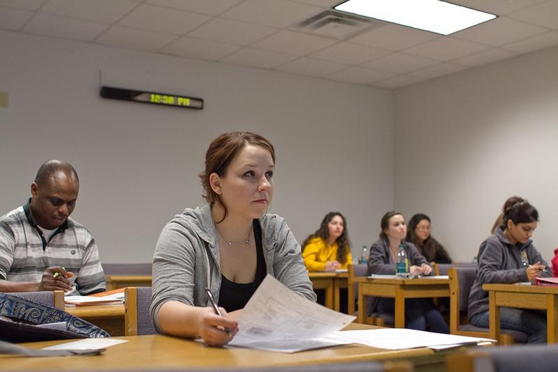 Chelsea Stewart listens to a lecture in the College of Health Professions at Texas State University. The Texas Higher Education Coordinating Board recently reclassified the school as an Emerging Research University.