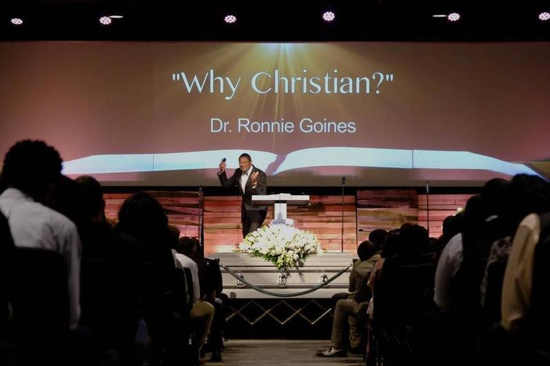 Pastor Ronnie Goines preached at Christian Taylor's funeral in August.