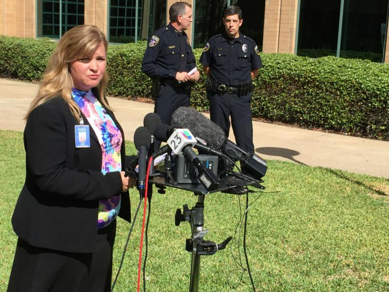 Irving school district spokeswoman Lesley Weaver addresses reporters Tuesday morning.