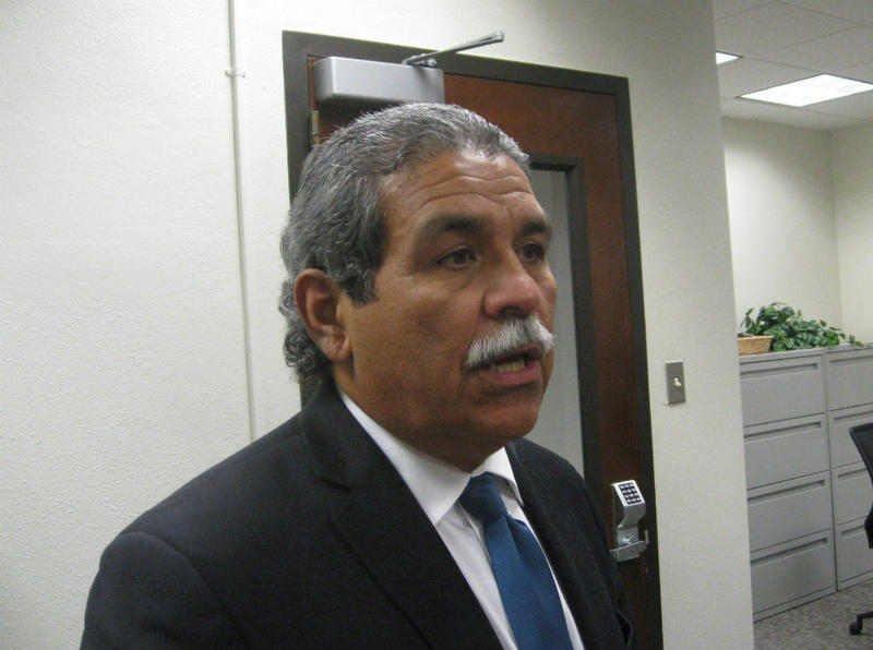 Dallas interim superintendent Michael Hinojosa takes a break from Thursday's board briefing to talk about picking a chief of staff and streamlining the district's management structure.