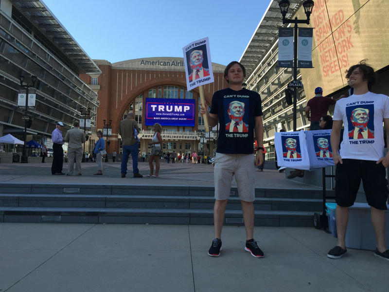 Donald Trump supporters gathered outside the American Airlines Center in downtown Dallas Monday afternoon.