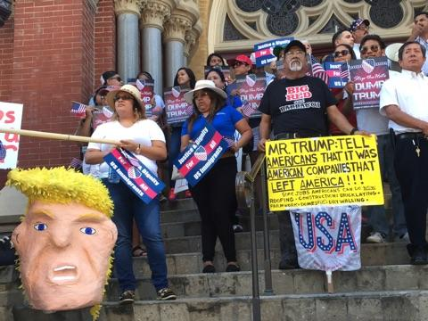About 1,000 people showed up to protest the Donald Trump rally.