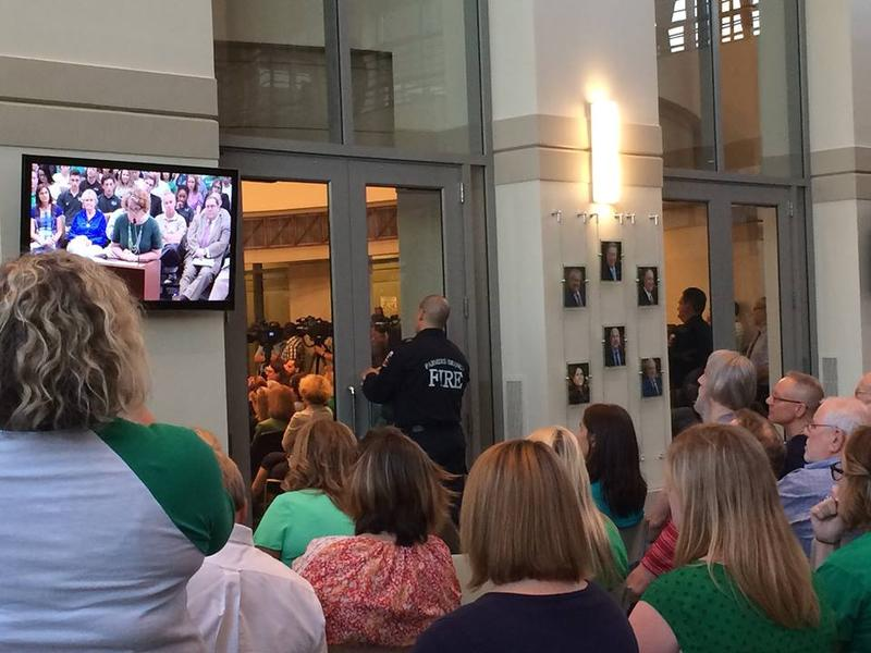 Westwood School parents and employees showed up at Farmers Branch City Hall Tuesday night. So many were there that some had to sit in an overflow room.