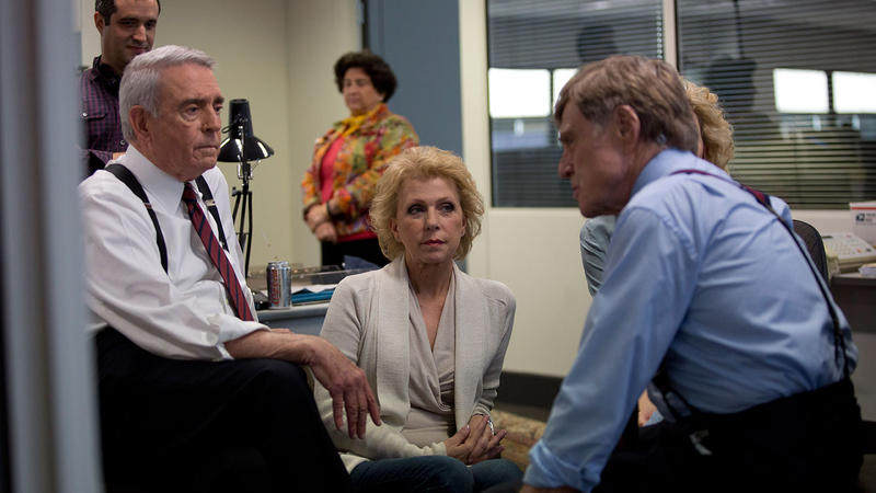 Dan Rather and Mary Mapes (left to right) visit with Robert Redford and Cate Blanchett, who portray them in the movie, 'Truth.'