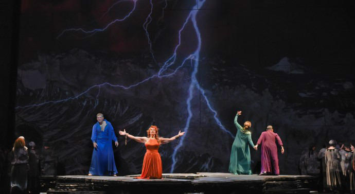 "In ""Great Scott,"" an ""opera within an opera,"" Joyce DiDonato plays a diva who finds an unknown opera then stars in it. The character Rosa Dolorosa sacrifices herself in hopes of saving Pompeii. The lost opera premieres on the same night as the Super Bowl"
