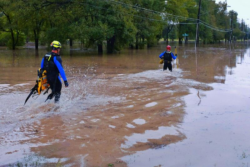 Two workers attempted a rescue in Austin, but the water was too high.