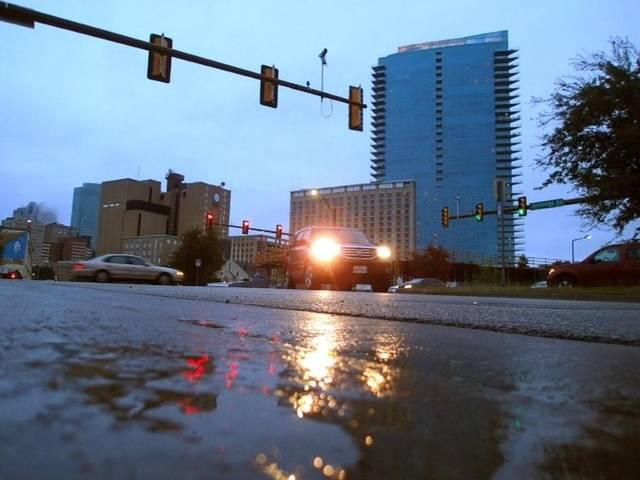 Puddles formed across downtown Fort Worth Friday morning.